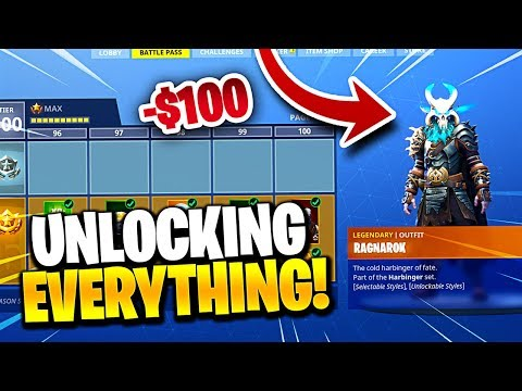 UNLOCKING ALL 100 TIERS IN THE SEASON 5 BATTLE PASS! Winning First Game  Fortnite Battle Royale