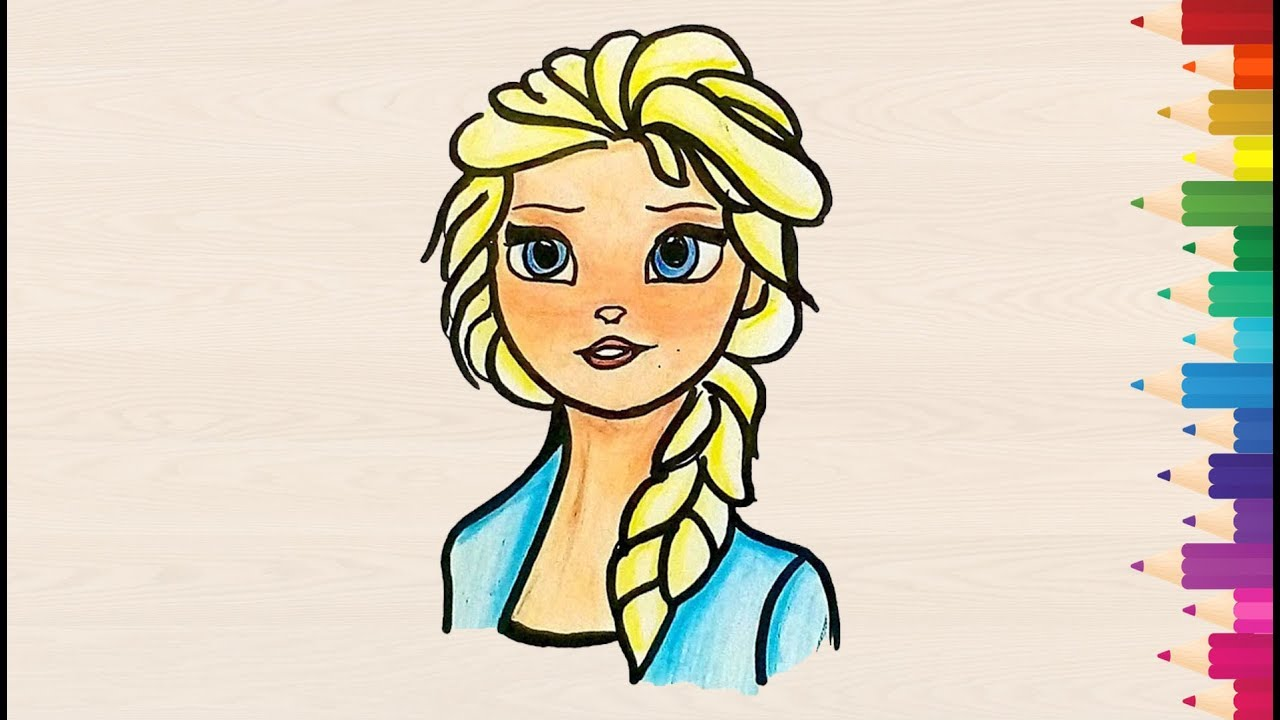 How to draw Elsa from frozen 2 (2019) for kids easy ...