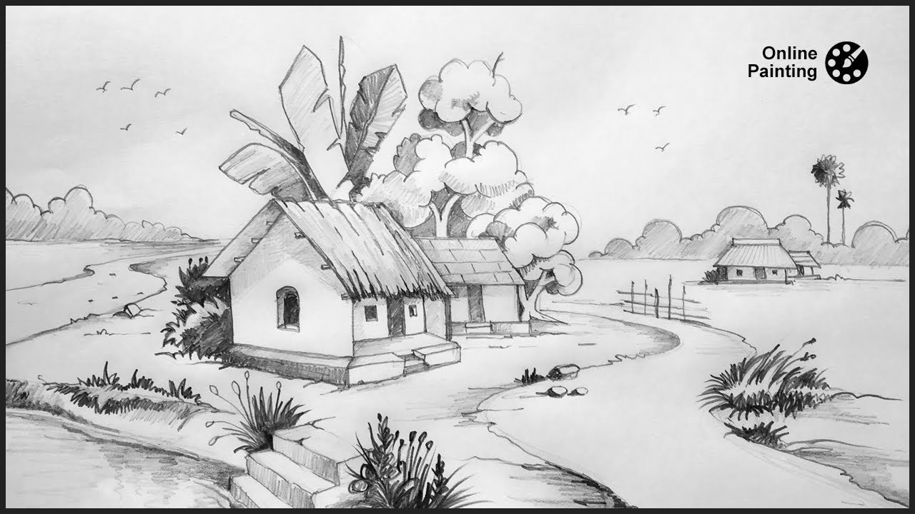 How to draw easy scenery drawing pencil sketch for beginners online painting