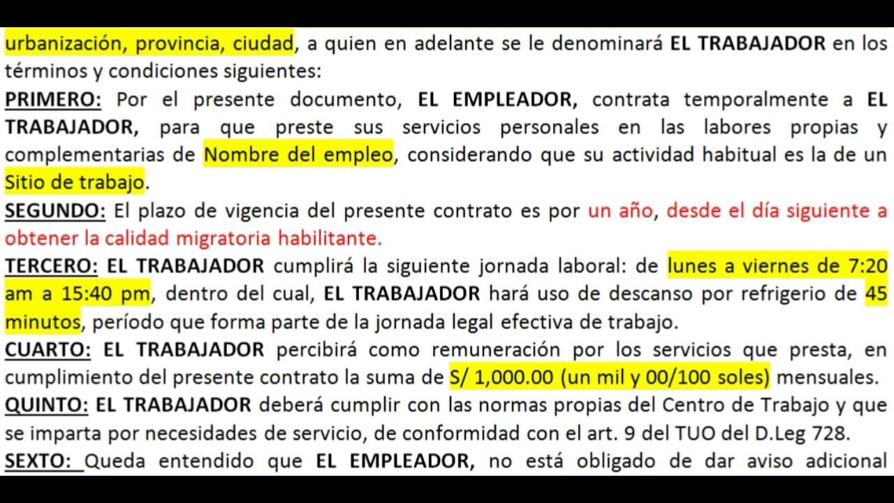 C Mo Redactar Un Contrato De Trabajo Para Extranjeros