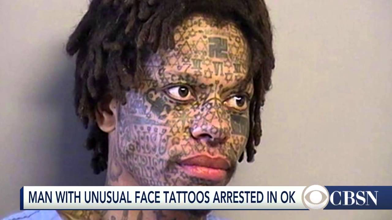 man arrested with star of david swastika tattooed on face youtube. Black Bedroom Furniture Sets. Home Design Ideas