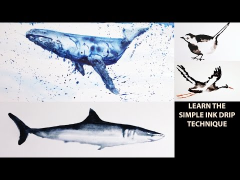 How to Draw and Paint Animals with Water: Ink Drip Technique