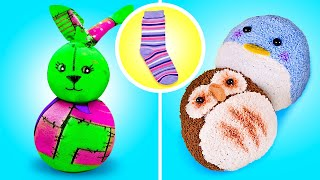 FUNNY PLUSH TOY MADE OUT OF SOCKS || Sock Bunny And Reversible Plushy