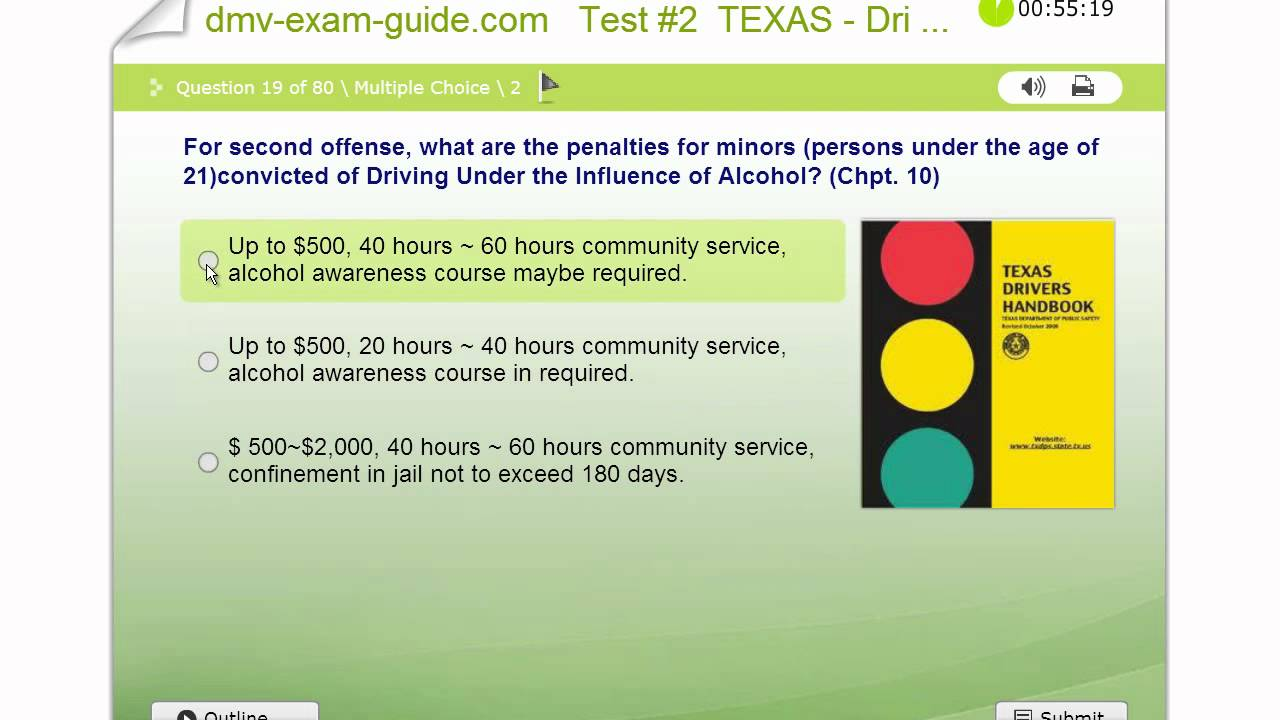 Texas Driver Permit Exams - Practice Test #2 (Part A) - Traffic ...