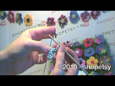 Crochet Tutorial Youtube : Petal Crochet Flower Button Tutorial - YouTube