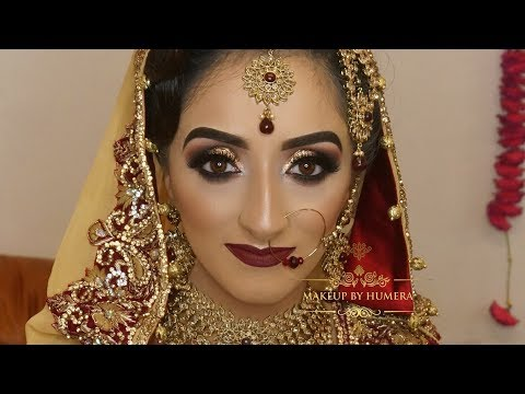 Real Bride | Asian Bridal Makeup | Traditional Look | Round Glittery Smokey Eyes And Bold Lips