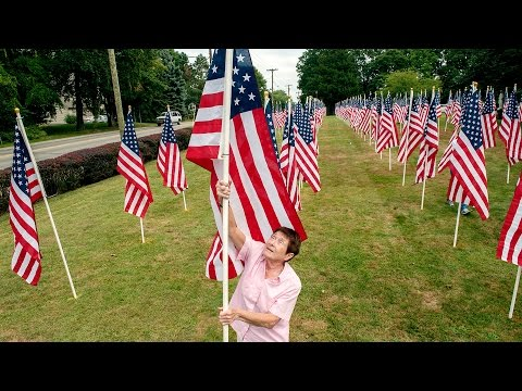 On 9/11 anniversary, flags honor service
