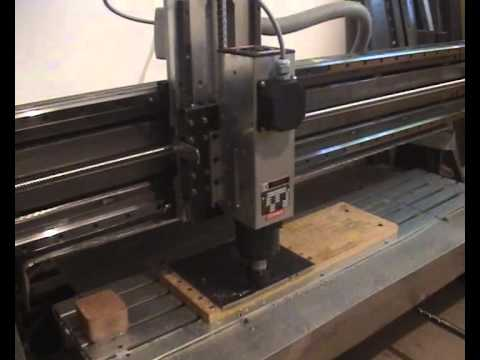 DIY CNC first try of cutting steel plate with new spindle motor