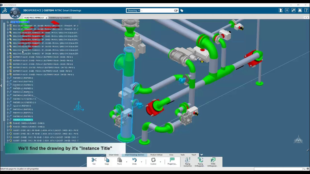 AITAC Smart Drawings Piping Isometric batch for 3DEXPERIENCE - YouTube