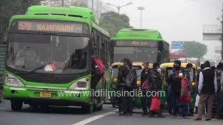 Crowded DTC buses, vehicles honking during rush hour | New Delhi traffic every day