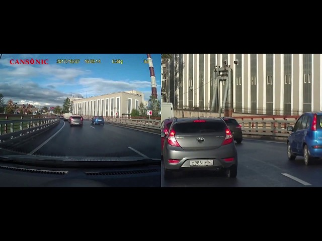 CANSONIC Z1 Zoom GPS двухкамерный видеорегистратор: пример видео