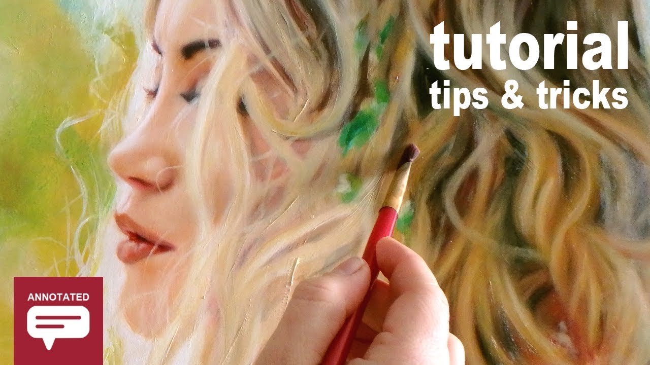 HOW TO PAINT CURLY OMBRE HAIR + WOMAN'S FACE IN PROFILE - Annotated Oil Painting Demo Tutorial