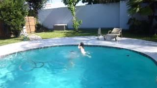 3 year old Rachel learning to swim  Aug 2013