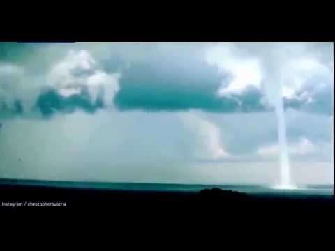 Rare sight of double waterspouts captured off coast of Uganda