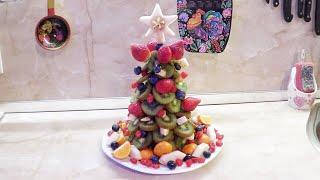 Новогодний стол / Ёлка из фруктов / Украшение из фруктов / Делаем с детками