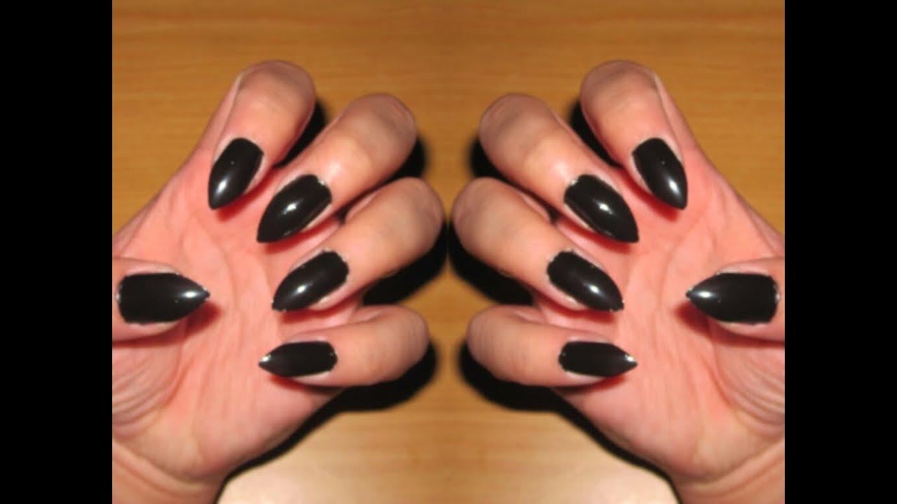DIY Stiletto Nails NO ACRYLIC!!! - YouTube