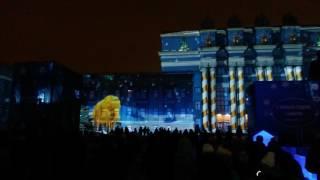 Самара. Световое шоу на фасаде театра. 29.12.16г