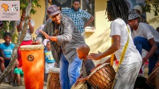 { IVORY COAST PERCUSSIONIST } CONSTANCE BOTI DRUMMING in AFRICA GHANA