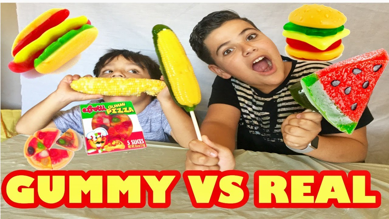 Gummy Food Vs Real Food Challenge Giant Gummy