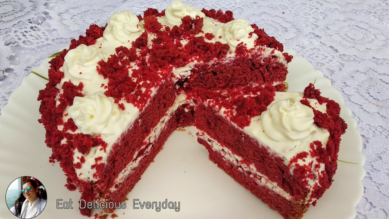 Red Velvet Cake Recipe Without Oven || Cream Cheese Frosting || Birthday Cake Recipe