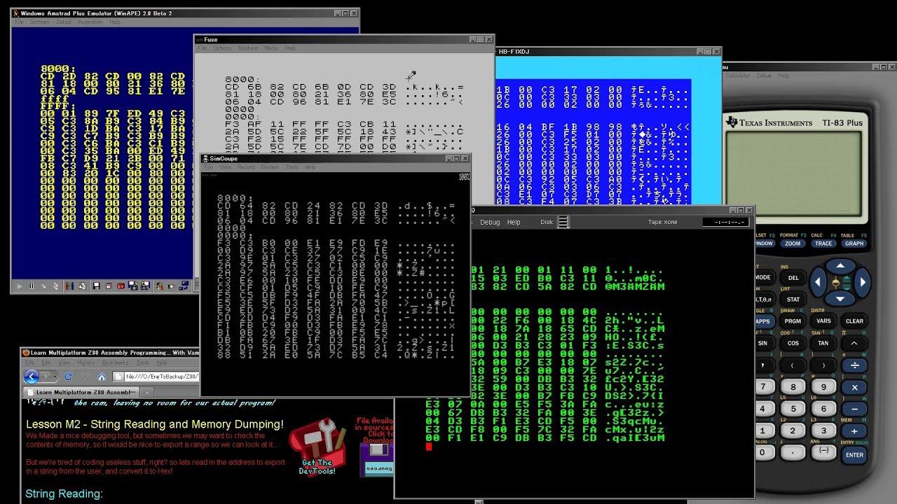 Z80 Assembly, Multiplatform Lesson M2 - String Reading and Memory Dumping!