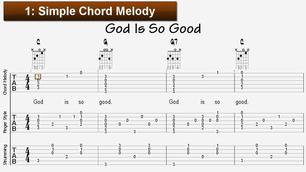 Learn Sunday School Songs For Guitar God Is So Good Tablature