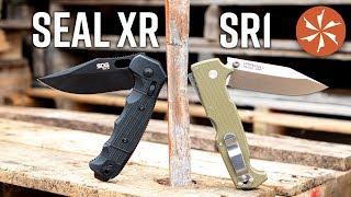 Cold Steel SR1 Vs. SOG SEAL XR - Tactical Folder Throwdown at KnifeCenter.com