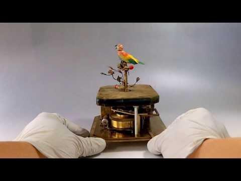 ANTIQUE KARL GRIESBAUM SINGING BIRD CAGE BIRD AUTOMATON MUSIC BOX