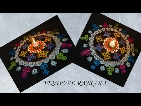 Beautiful & Easy freehand rangoli || festival special