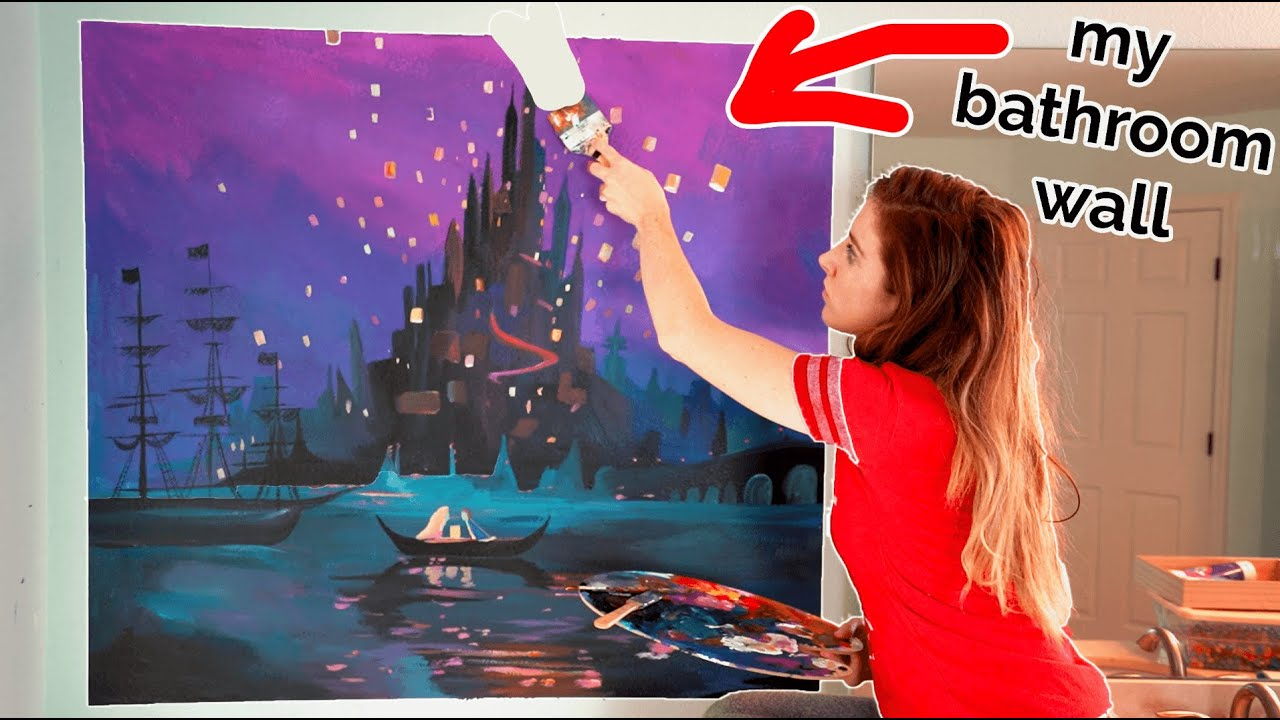 I Painted A Giant Mural On My Bathroom Wall Yikes Youtube