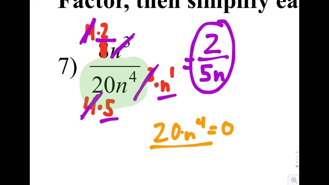 Algebraic Fractions: Simplifying Fractions Of Monomials
