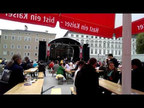 Salzburg - fest on Kapitel Platz Kaiser beer and Forrest Gump on mondharmonica
