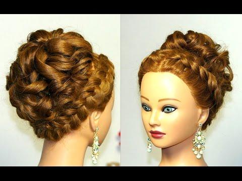Прическа для длинных и средних волос с двумя обратными косами и буклями