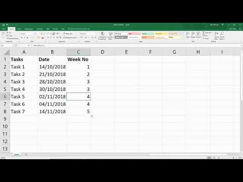 Excel Formula Find the Week Number from any given Date