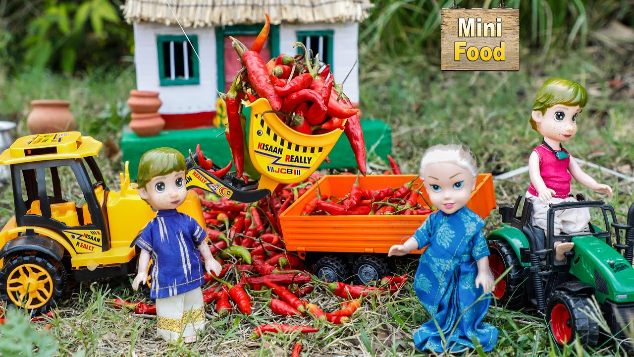 Mini Red Mirchi Bajji | Village Mirchi Recipe | Street Food | Tiny Cooking | Mini Food Cooking