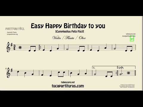 Happy Birthday to You Easy Sheet Music for Flute Violin and Oboe