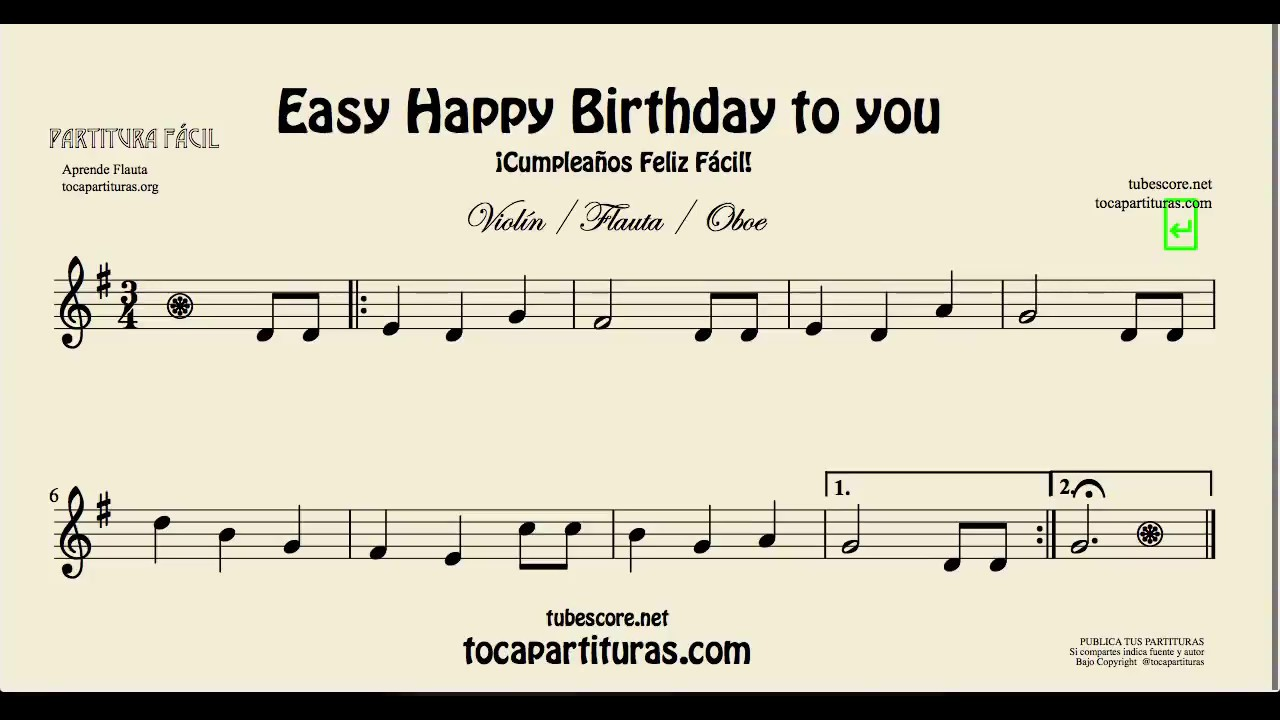 Happy Birthday to You Easy Sheet Music for Flute Violin ...