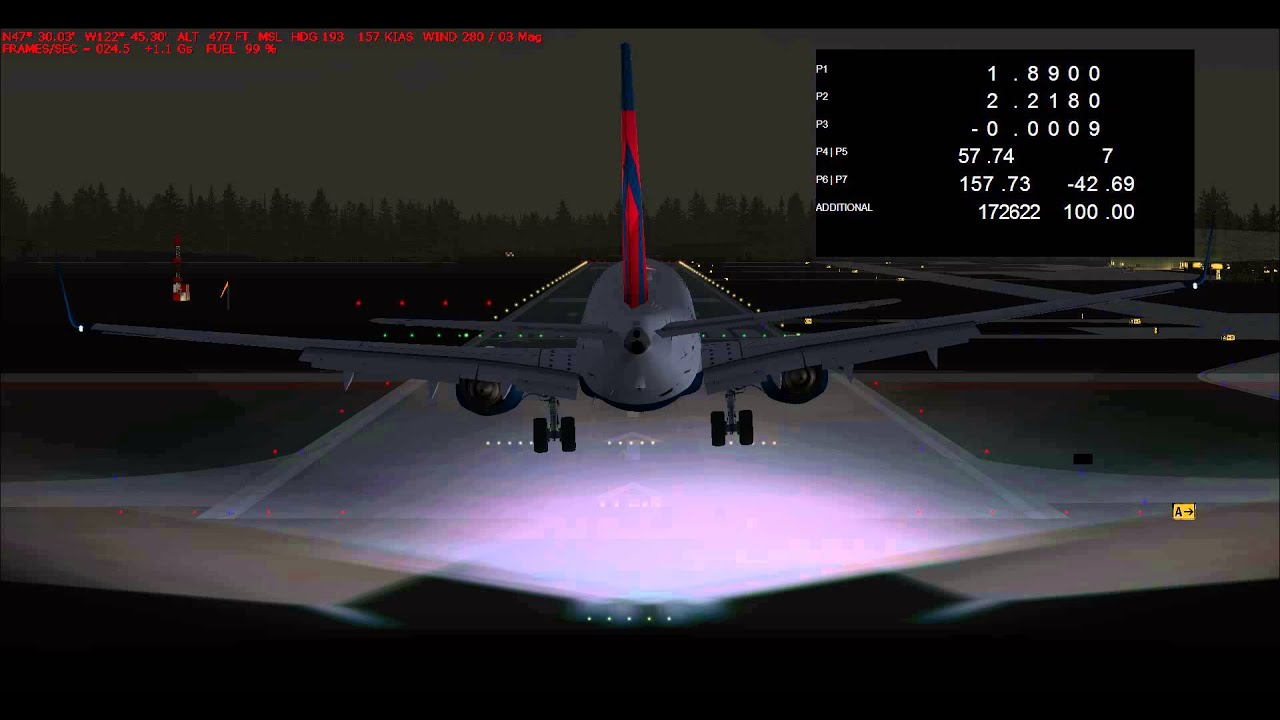TDS Boeing 737-800 V2 nose bounce problem (another landing) (Default FS9  Airport)