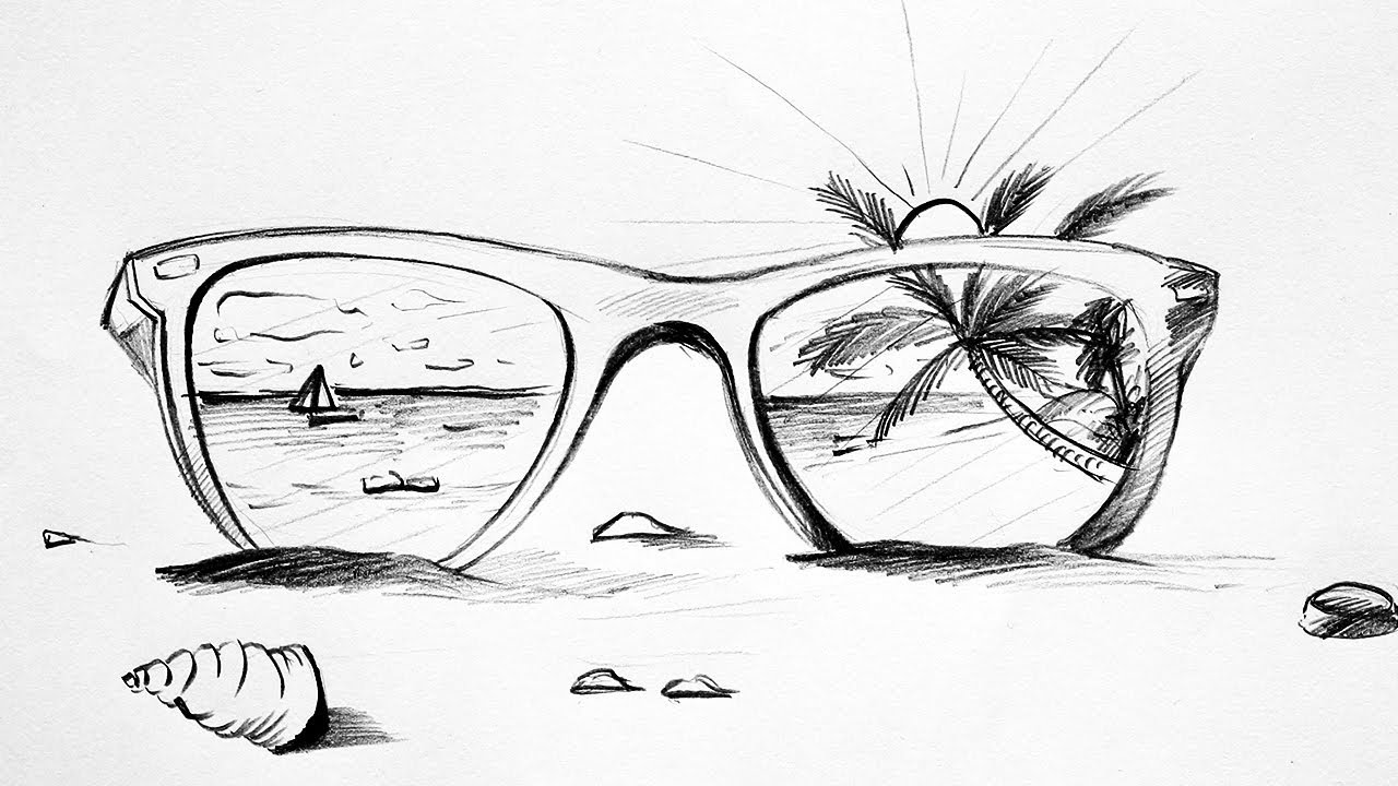 D Line Drawings Ideas : How to draw a beach sunglass scenery sketch