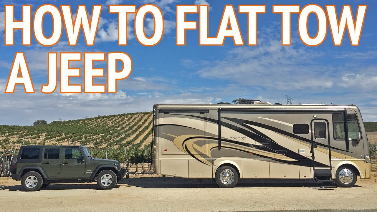 How To Flat Tow A Jeep Wrangler Behind An Rv Youtube Jk Gps Wiring