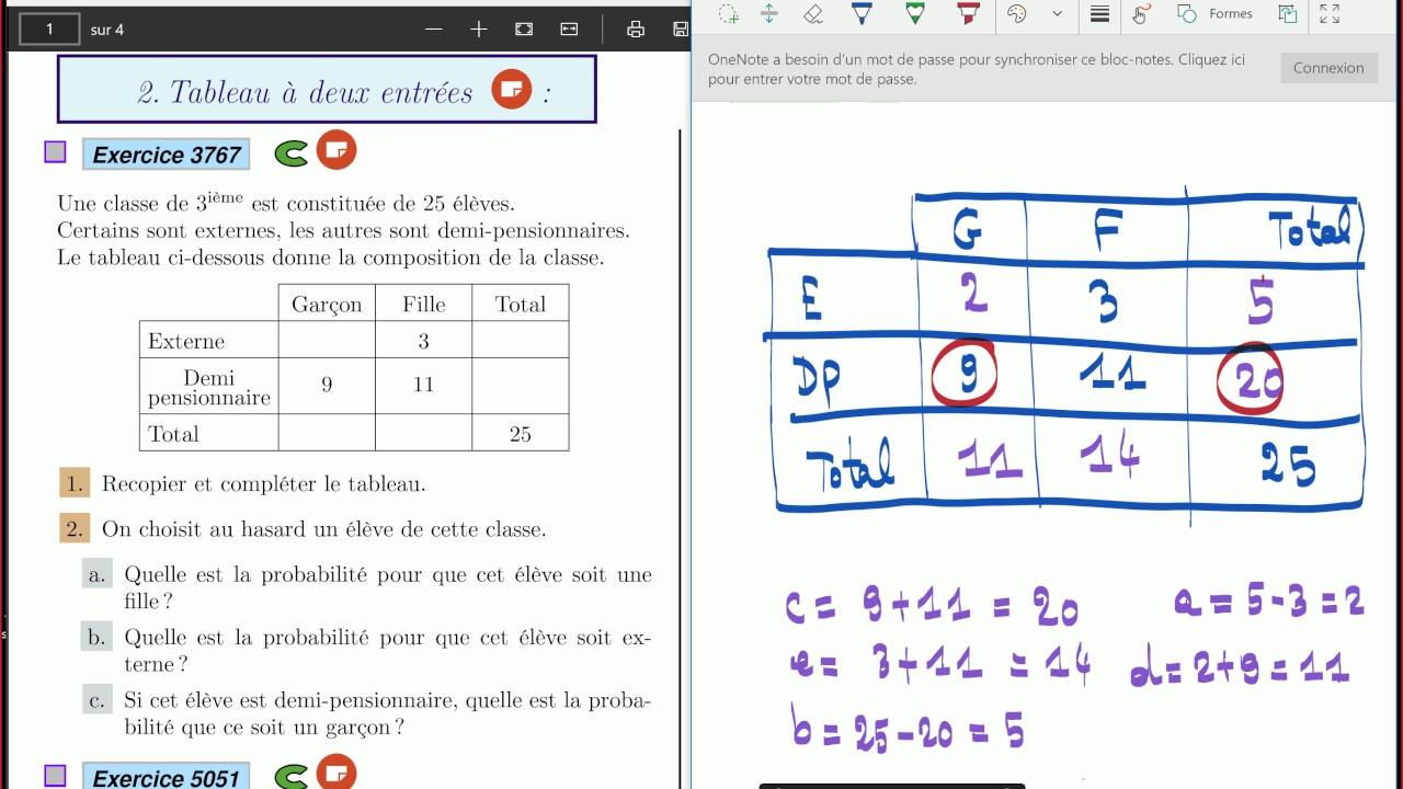 Probabilites Tableau A Deux Entrees Seconde Exercices Corriges Youtube