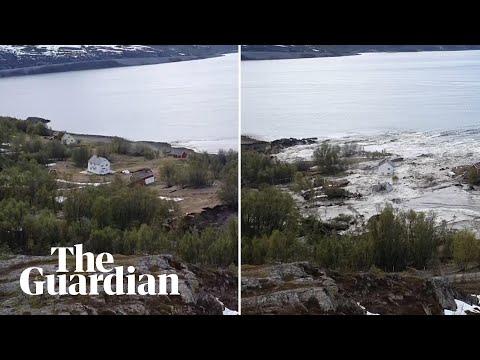 Moment powerful landslide sweeps away buildings in Norway