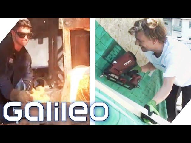 Dachdecker vs. Eisengießer: Welcher Galileo-Reporter schlägt sicher besser? | Galileo testet Berufe
