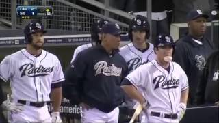 extented version zach greinke breaks collar bone dodgers vs padres benches clearing fight hd