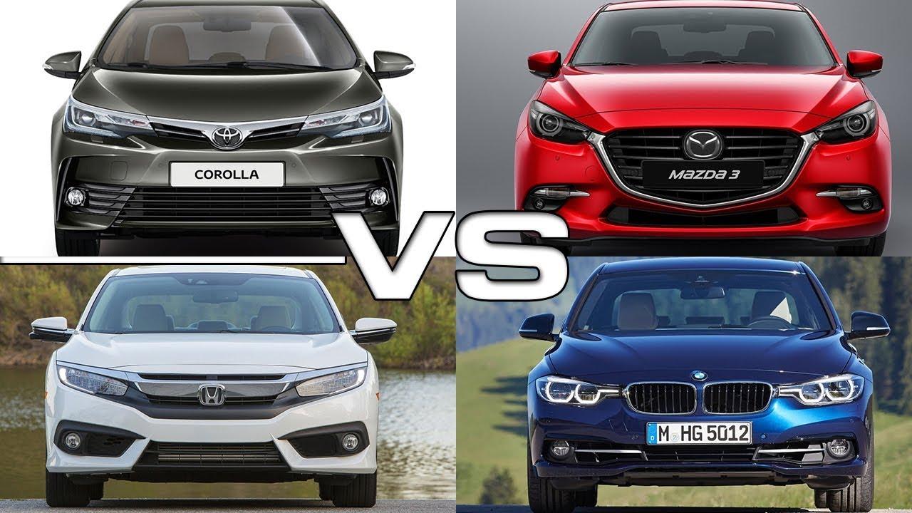 Toyota Corolla Vs Mazda 3 Vs Honda Civic Vs Bmw 3 Series Youtube