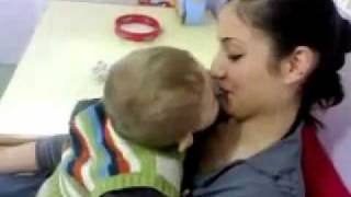 cute baby kiss attempt very funny