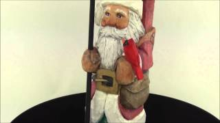 Rs43 Russell Scott Wood Carving Santa With Bird Feeder