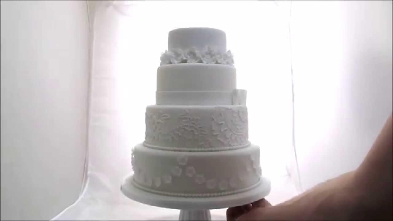 4 Tier White Classic Wedding Cake - YouTube