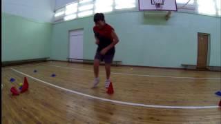 Физ. подготовка теннисиста. Упражнения с фишками.