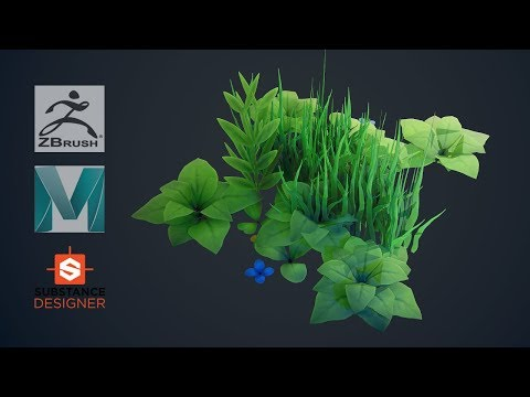 How To Make Stylized Plants And Grass -Zbrush, Maya, Substance Designer